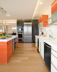 View in gallery Kitchen cabinet color scheme that brings together orange,  white and black