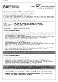 Epic Sap Fi Resume Sample With Additional Fwoods Sap Fico Resume Of