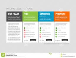Pricing Template For Services Pricing Table Template Stock Vector Illustration Of