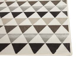 Modern Ivory Tan Gray and Brown Geometric Triangle Pattern Rug