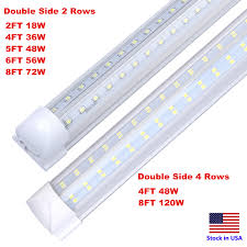 Details About 120w 8ft Integrated T8 Led Tube Light V Shaped Cooler Freezer 8 Bulb Shop Light
