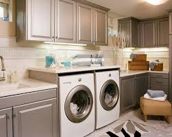 Interior:Dazzling Laundry Room Design Setup With Side By Side Washer And  Dryer Also Repainted