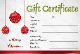 Holiday Gift Certificate Holiday Gift Certificate Template Free Download Christmas Balls Gift