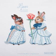 Rabbit Decorative Accessories 100pcs exquisite fashion rabbit animal princess and prince badge 57
