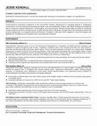 Sample Construction Resume Fresh Superintendent Resume Examples