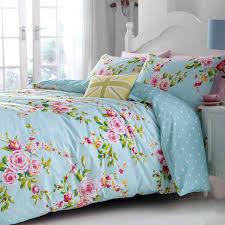 catherine lansfield vintage floral duvet cover set double blue