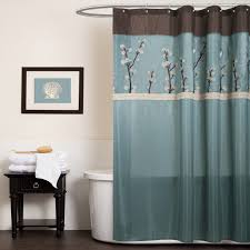 light blue and brown shower curtain