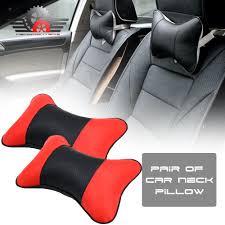 2x car seat genuine leather headrest neck pillow dog bone shape rest cushion car seat pillows