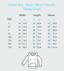 Gildan 18500 Size Chart Sizing Specifications Traditional Teez