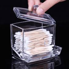 Transparent Clear Acrylic Q-tip Holder Box Cotton Swabs Stick Storage  Cosmetic Makeup Case