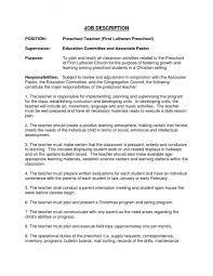 Kindergarten Teacher Resume Samples Preschool Teacher Assistant Job