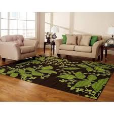vines area rug brown green leaves
