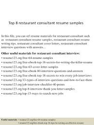 Sample Resume For Restaurant Server Simple Top 44 Restaurant Consultant Resume Samples
