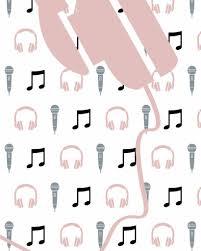 Behang Muziek Met Microfoon En Koptelefoon Roze Tinklecherry
