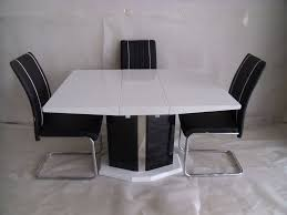 white dining table set. Extending (central Part) White Dining Table And 4 Chairs, Modern Design, High Set