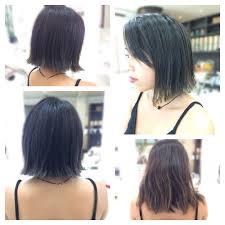 外ハネ外ハネ切りっぱなしボブヘアスタイル Hair Verde