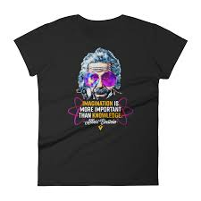 Albert Einstein Imagination Is More Important Than Knowledge Womens Crew Neck Tee Quotes