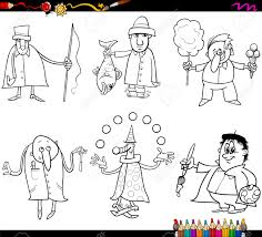 coloring book cartoon ilration of funny professional people occupations characters set stock vector 39039029
