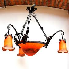 art nouveau style chandelier blown glass wrought iron oled vigne cercle by hugues thieffry