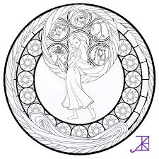 Small Picture Disney Tangled Rapunzel Stained Glass line art by Akili