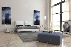 Komfortable Zeitgenössische Grau Und Weiß Schlafzimmer Interieur Mit