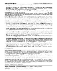 Resume Sample 13 Senior Telecommunications Engineering Operations