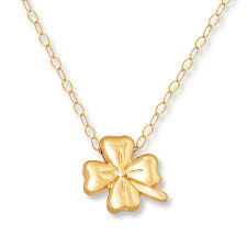 young teen four leaf clover necklace 14k yellow gold tap to expand