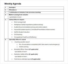 Management Meeting Agenda Template Delectable 48 Weekly Agenda Samples Sample Templates