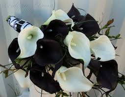 wedding bouquet real touch plum black white calla lily bridal Wedding Bouquets Black And White Wedding Bouquets Black And White #13 black and white silk wedding bouquets