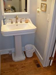 ... bathroom powder room ideas powder room sink faucets gold faucet and  wall hung sink in powder ...