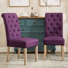 purple tufted chair. Contemporary Tufted Roundhill Furniture C161PL Habit Solid Wood Tufted Parsons Dining Chair Set  Of For Purple D