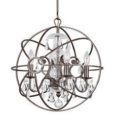 crystorama solaris 4 light clear crystal bronze mini chandelier