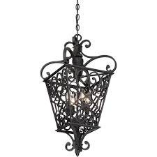 quoizel fort quinn 4 light cage chandelier in marcado black