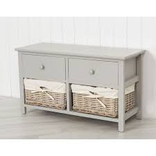 wooden storage unit with two wicker drawers grey