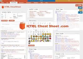 html reference sheet html cheat sheet