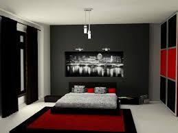 black bedroom. Bedroom:Modern Black And Red Bedroom With Grey Bed Sheet Rug Carpet Also