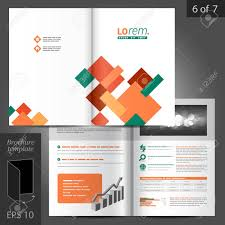 White Brochure Vector White Brochure Template Design With Color Square Elements