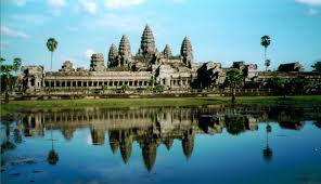 wide view of the main temple at angkor