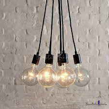 6 light edison bulb led multi light pendant in black for dining room kitchen bar counter beautifulhalo com