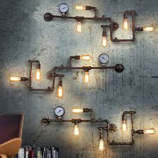 ideas wall sconces decorating wall sconces lighting. Find More Wall Lamps Information About Vintage Loft Wroguht Iron Water Pipe Retro Industrial Ideas Sconces Decorating Lighting