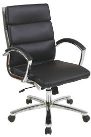 office star mid back modern executive black faux leather chair