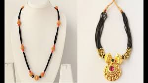 Black Beads Designs In Kalyan Jewellers Latest Beautiful Black Beads And Gold Mangalsutra Chains Designs
