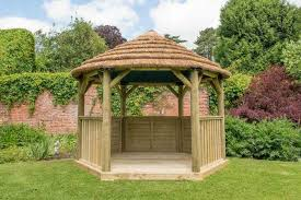 forest 3 6m hexagonal wooden garden gazebo with thatched roof cream lining
