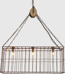 metal basket chandelier with wood pulley