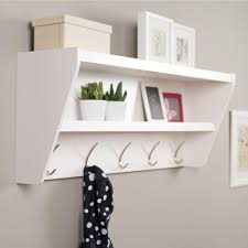 White Coat Rack With Storage Floating Entryway Shelf Coat Rack in White 6