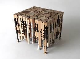 furniture design image. eking it out table is made of recycled legs furniture design image