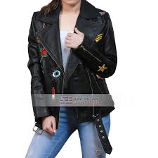 kendrick womens embroidered patches balck jacket