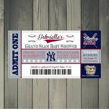 Invitation Ticket Template Interesting Baseball Themed Baby Shower Invitations Baby Shower Ticket