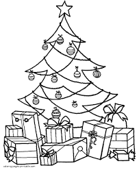 christmas tree with presents coloring pages. Simple Presents Christmas Tree With Presents Coloring Pages For Kids H