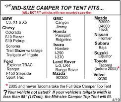 Truck Camper Size Chart Mid Size Truck Camper Tent